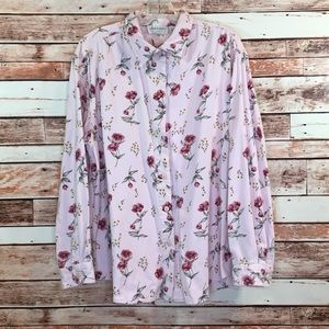 Tops - Lemon Grass pink floral corduroy shirt XL